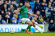Sheffield Wednesday defender Morgan Fox (3) beats Brighton & Hove Albion defender Ezequiel Schelotto (21) to the ball during the The FA Cup match between Brighton and Hove Albion and Sheffield Wednesday at the American Express Community Stadium, Brighton and Hove, England on 4 January 2020.