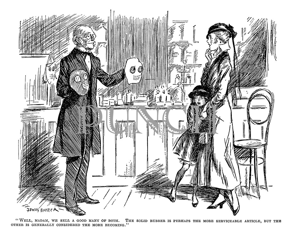 """Well, Madam, we sell a good many of both. The solid rubber is perhaps the more serviceable article, but the other is generally considered the more becoming."""