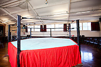 Empty wrestling ring in club