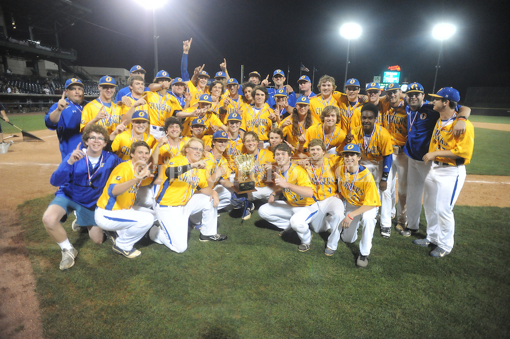 Oxford High players pose with the trophy following the win vs. George County in the MHSAA Class 5A state championship at Trustmark Park in Pearl, Miss. on Thursday, May 21, 2015. Oxford won 9-0 to win its second state title in baseball and its first since 2005.