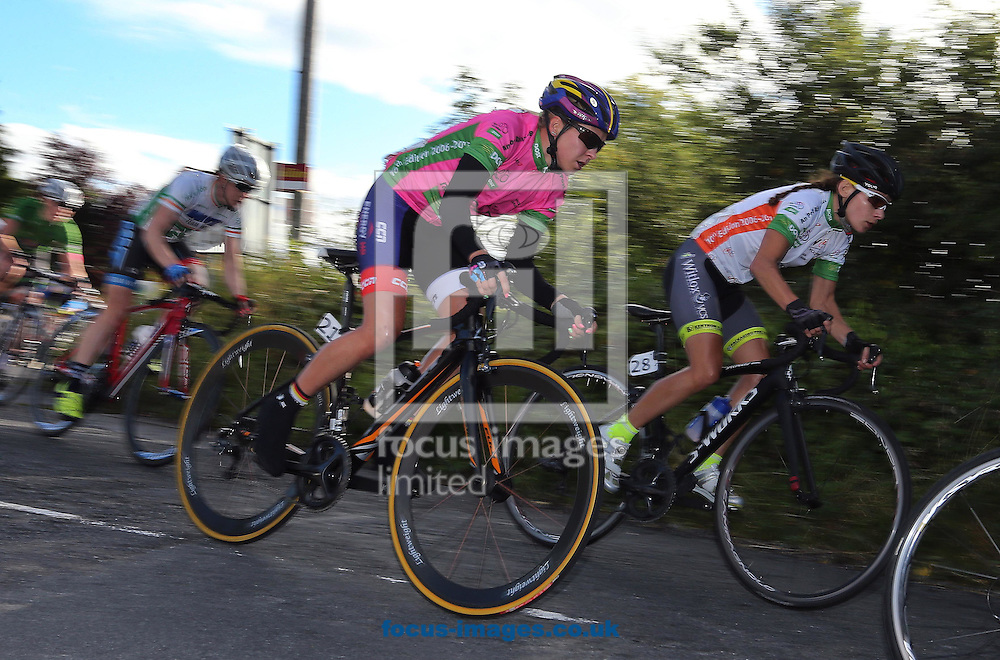 Race leader Stephanie Pohl during the 40km, 10 lap, Circuit race on Stage Five of the An Post Women's Tour of Ireland in Ballyalla, Ireland<br /> Picture by Lorraine O'Sullivan/Focus Images Ltd +353 872341584<br /> 12/09/2015