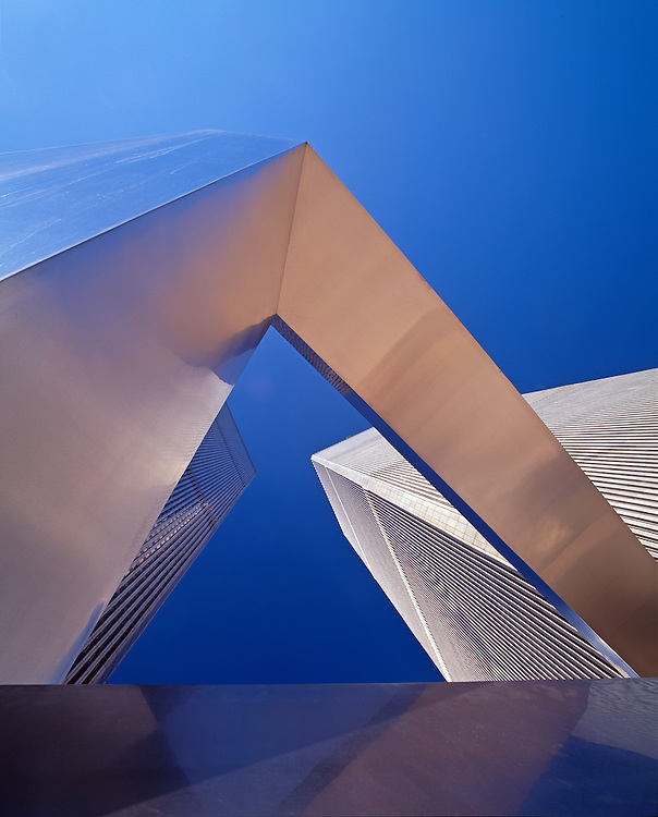Ideogram by James Rosati, sculpture in World Trade Plaza, destroyed during the September 11 attacks, Austin Tobin Plaza, Twin Towers, NYC, NY
