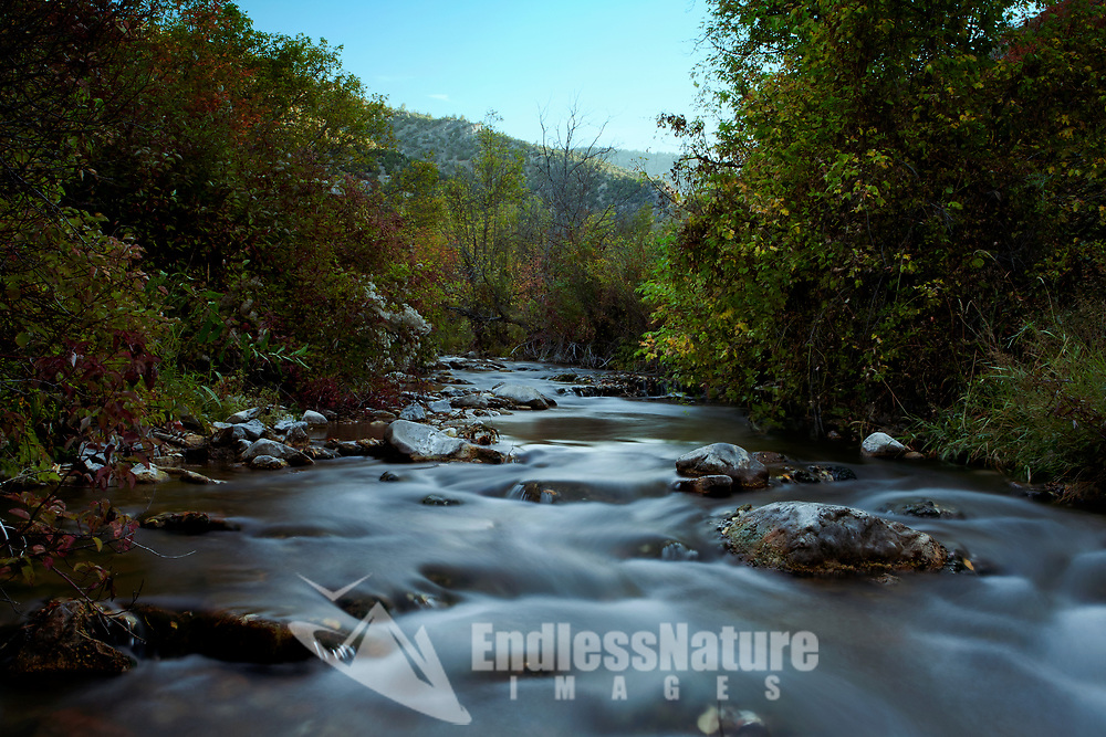 The left hand fork of the Blacksmith Fork River flows at a slow pace on an early September morning in northern Utah.
