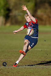 England U20 back Mathew Protheroe (Gloucester Rugby)  practices his kicks during a session at Bristol Rugby's training facility ahead of the U20 Six Nations match versus Wales - Mandatory byline: Rogan Thomson/JMP - 08/03/2016 - RUGBY UNION - Clifton Rugby Club - Bristol, England - England Under 20s Training at Bristol Rugby.