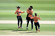 Southern Vipers celebrate the wicket of Amy Jones during the Kia Women's Cricket Super League semi-final match between Loughborough Lightning and Southern Vipers at the 1st Central County Ground, Hove, United Kingdom on 1 September 2019.
