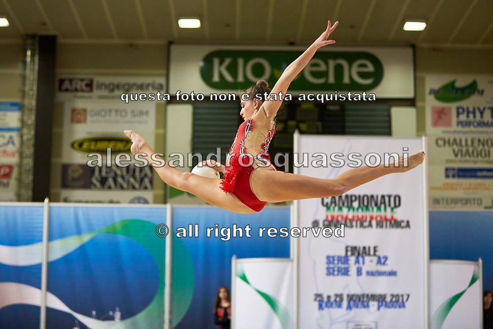 Elena Varallo from Moderna Legnano team during the Italian Rhythmic Gymnastics Championship in Padova, 25 November 2017.