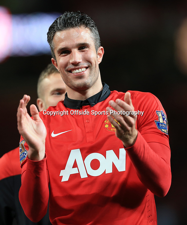 6th May 2014 - Barclays Premier League - Manchester United v Hull City - Robin van Persie of Man Utd laughs and smiles - Photo: Simon Stacpoole / Offside.
