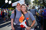 Kristin Erickson, left, of San Jose, and her sister Karin Chyla-Erickson of Ventura County pose for a portrait during the 2014 Silicon Valley Heart & Stroke Walk at KLA-Tencor in Milpitas, California, on October 11, 2014. (Stan Olszewski/SOSKIphoto)