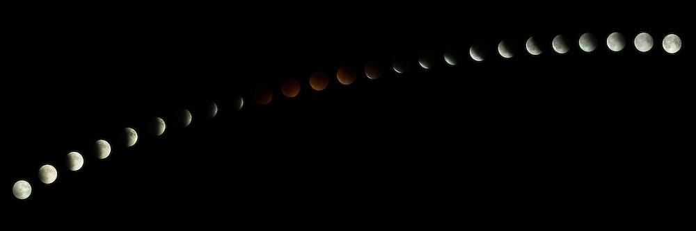 The rare total lunar eclipse of a super full moon in a time lapse series.