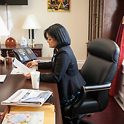 Representative Pramila Jayapal (D-WA, 7) reviews her notes before doing a phone interview from her congressional office, on Tuesday, January 31, 2017.  John Boal photo/for The Stranger