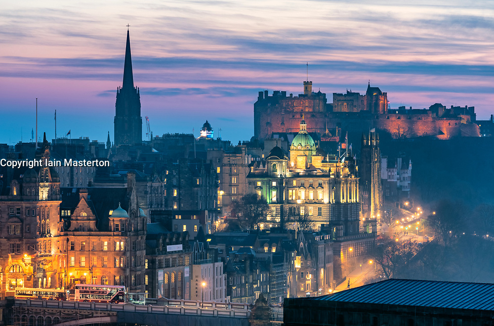 Edinburgh, Scotland, UK. 27 February, 2019. View at sunset over famous Edinburgh Old Town skyline from Calton Hill in Edinburgh , Scotland, UK