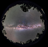 A 360&deg; degree fish-eye panorama of the Milky Way with the Galactic Centre overhead and the spiral arms of the Galaxy symmetrically displayed to either side of the core: toward Scutum, Aquila, and Cygnus at left; and toward Norma, Centaurus, and Carina at right.<br /><br />This is from near Coonabarabran, NSW, Australia at at latitide of 32&deg; South.<br /><br />Scorpius and Antares are overhead at the zenith. The Dark Emu is visible across the sky, from his head in Crux at right, to his tail in Scutum at left. <br /><br />Jupiter is the bright object in the west at top. The glow of Gegenschein is below it. <br /><br />The view is with southeast to the bottom to place the plane of the Galaxy horizontally across the frame. <br /><br />Some airglow discolours the sky at left. <br /><br />This is a stitch of 8 segments, each a 1-minute exposure with the 14mm lens at f/2.6 and filter-modified Canon 5D MkII at ISO 3200. The camera was on a tracker, the iOptron Sky-Tracker, so the stars are not trailed. Stitched with PTGui.