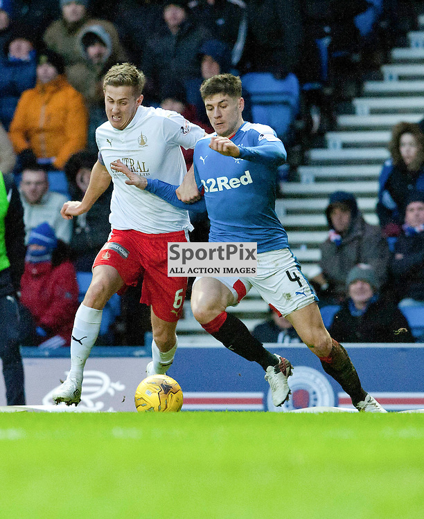 Will Vaulks and Rob Kiernan in action during the Ladbrokes Championship match between Rangers v Falkirk, Ibrox Stadium, Saturday 30 January 2016 (c) Angie Isac | SportPix.org.uk