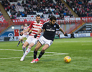 27th January 2018, SuperSeal Stadium, Hamilton, Scotland; Scottish Premiership football, Hamilton Academical versus Dundee; Dundee's Sofien Moussa and Hamilton Academical's Xavier Tomas