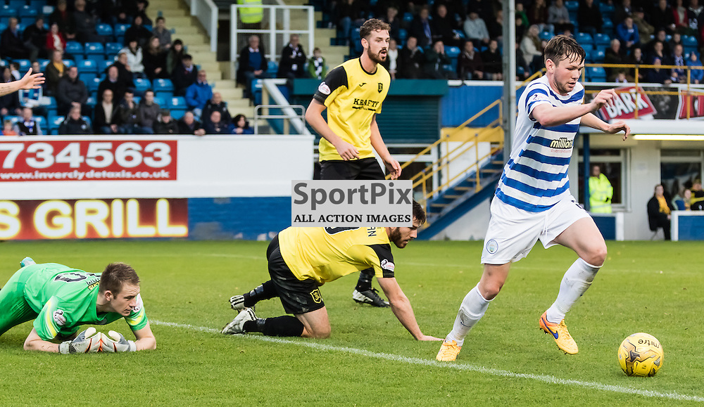 Morton's Lee Kilday gets back on the ball after a failed attempt at goal during the Greenock Morton FC V Livingston FC Ladbrokes Scottish Championship game played at Cappielow Park, Greenock on 7th November 2015; (c) BERNIE CLARK | SportPix.org.uk
