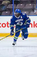 PENTICTON, CANADA - SEPTEMBER 16: Jordan Subban #67 of Vancouver Canucks skates behind the net against the Edmonton Oilers on September 16, 2016 at the South Okanagan Event Centre in Penticton, British Columbia, Canada.  (Photo by Marissa Baecker/Shoot the Breeze)  *** Local Caption *** Jordan Subban;