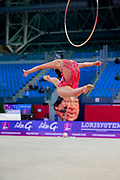 Varay Mira during the qualification of hoop at the Pesaro World Cup 2018. She was born in Budapest Hungary in 2001.
