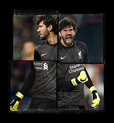 LIVERPOOL, ENGLAND - Saturday, August 1, 2020: Liverpool's goalkeeper Alisson Becker pictured in a new black goalkeeper's shirt as part of Liverpool FC's new 2020/21 kit. A 5 year deal with American sportswear brand Nike reported to be worth $39.5m per year replaces their current contract with New Balance. This is a handout picture from Liverpool FC. (Pic by Liverpool FC/Nike via Propaganda)