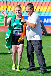 Noelle Lenihan, IRE talking about her double World Record<br /> throws and European Championship win in the F38, Discus at the Berlin 2018 World Para Athletics European Championships