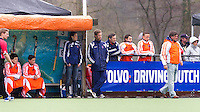 AERDENHOUT - 09-04-2012 - De bank met Dave Smolenaars en Eric van den Pol (r)  , maandag tijdens de finale tussen Nederland Jongens B en Spanje Jongens B  (3-1) , tijdens het Volvo 4-Nations Tournament op de velden van Rood-Wit in Aerdenhout. Jongens U16 wortdt kampioen.FOTO KOEN SUYK