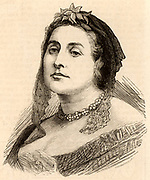Caroline Elizabeth Sarah Norton (born Sheridan - 1808-1877) English poet, novelist and pamphleteer.  Because of abuse by her husband, she campaigned for rights of women in marriage. Heroine of the novel by George Meredith 'Diana of the Crossways' 1885 based on Caroline's life. Engraving 1877.