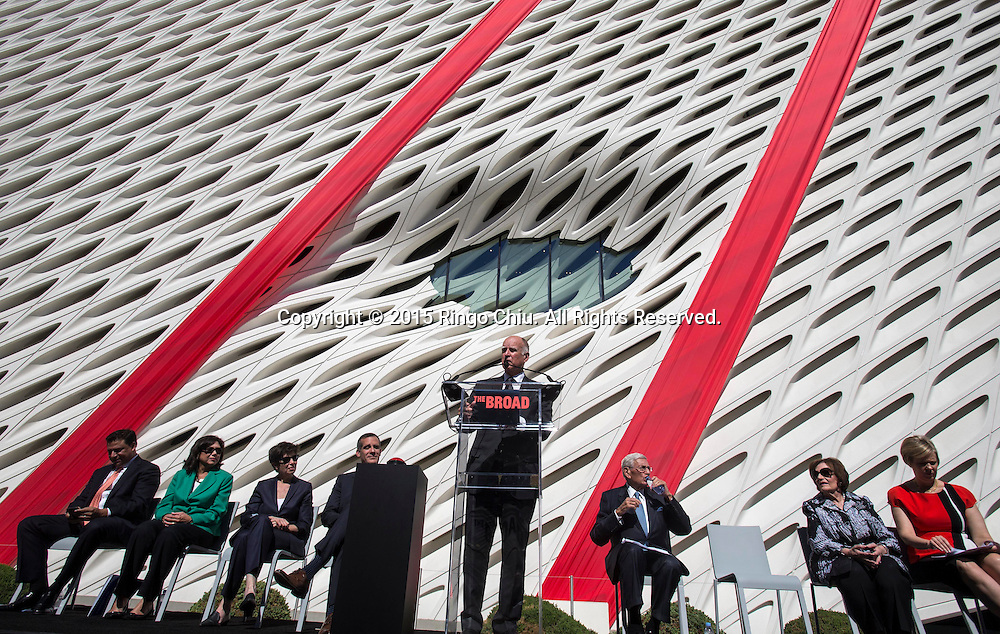 Gov. Jerry Brown speaks during the civic dedication at The Broad on September 18, 2015 in downtown Los Angeles.  The Broad, the contemporary art museum built to house the 2,000-piece collection acquired over decades by billionaire philanthropist Eli Broad and his wife, Edye. (Photo by Ringo Chiu/PHOTOFORMULA.com)