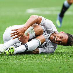 Corentin Tolisso of France looks injured during 2018 FIFA World Cup Quarter Final match  between France and Uruguay at Nizhniy Novgorod Stadium on July 6, 2018 in Nizhniy Novgorod, Russia. (Photo by Anthony Dibon/Icon Sport)