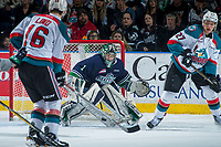 KELOWNA, CANADA - APRIL 30:  Carl Stankowski #1 of the Seattle Thunderbirds makes a save against the Kelowna Rockets on April 30, 2017 at Prospera Place in Kelowna, British Columbia, Canada.  (Photo by Marissa Baecker/Shoot the Breeze)  *** Local Caption ***