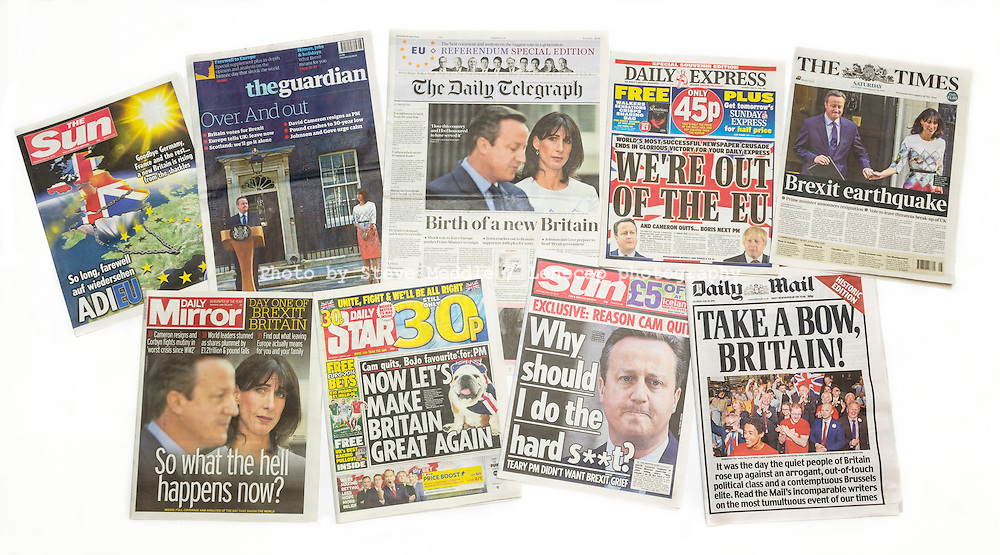 British newspaper front pages reporting Prime Minister David Cameron resigning after the EU Referendum, London, Britain - June 25, 2016
