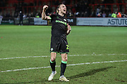 Forest Green Rovers Joseph Mills(23) at the end of the match during the EFL Sky Bet League 2 match between Stevenage and Forest Green Rovers at the Lamex Stadium, Stevenage, England on 26 January 2019.
