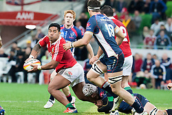 © Licensed to London News Pictures. 25/6/2013. Manu Tuilagi about to pass the ball during the British & irish Lions tour match between Melbourne Rebels Vs British & Irish Lions at AAMI Park, Melbourne, Australia. Photo credit : Asanka Brendon Ratnayake/LNP