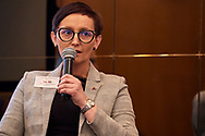 Warsaw, Poland - 2018 November 08: Barbara Wojciechowska - Advisor to the Board for Quality Management Systems CEDROB (Poland) speaks while Polish - Emirati Business Forum on Raffles Europejski Hotel on November 08, 2018 in Warsaw, Poland.<br /> <br /> Adam Nurkiewicz declares that he has no rights to the image of people at the photographs of his authorship.<br /> <br /> Picture also available in RAW (NEF) or TIFF format on special request.<br /> <br /> Any editorial, commercial or promotional use requires written permission from the author of image.<br /> <br /> Image can be used in the press when the method of use and the signature does not hurt people on the picture.<br /> <br /> Mandatory credit:<br /> Photo by © Adam Nurkiewicz