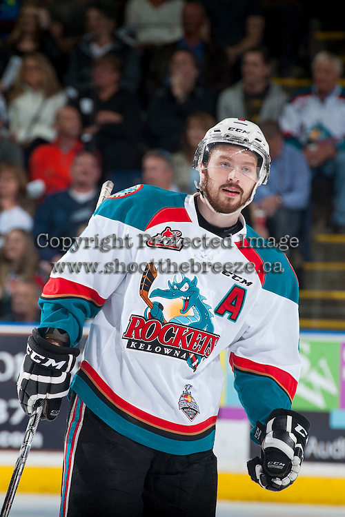 KELOWNA, CANADA - MAY 13: Colten Martin #8 of Kelowna Rockets skates against the Brandon Wheat Kings on May 13, 2015 during game 4 of the WHL final series at Prospera Place in Kelowna, British Columbia, Canada.  (Photo by Marissa Baecker/Shoot the Breeze)  *** Local Caption *** Colten Martin;