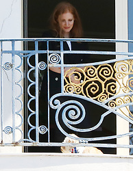 EXCLUSIVE: jessica Chastain see with her puppy on hotel's balcony in Cannes. 16 May 2017 Pictured: Jessica Chastain. Photo credit: Ale / MEGA TheMegaAgency.com +1 888 505 6342