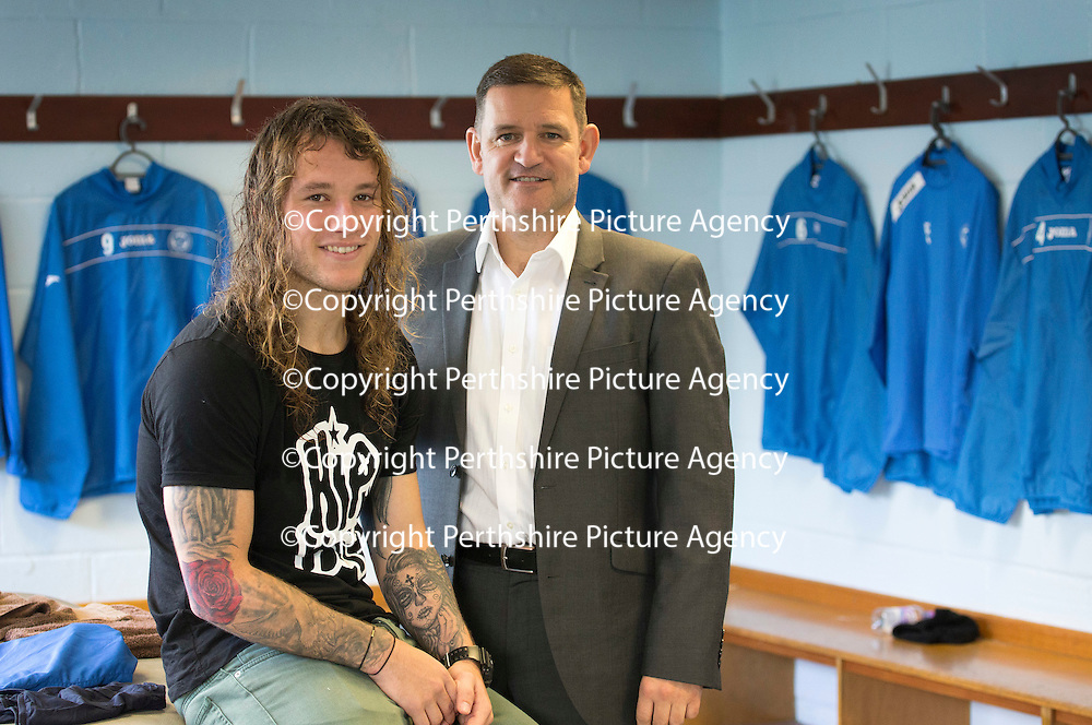 St Johnstone striker Stevie May pictured with Chairman Steve Brown after signing a new contract which will keep him at McDiarmid Park for the the 2014-15 season....24.10.13<br /> Picture by Graeme Hart.<br /> Copyright Perthshire Picture Agency<br /> Tel: 01738 623350  Mobile: 07990 594431