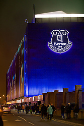 LIVERPOOL, ENGLAND - Monday, December 19, 2016: A neon illuminated Everton club badge outside Everton's Goodison Park stadium before the FA Premier League match against Liverpool, the 227th Merseyside Derby, at Goodison Park. (Pic by David Rawcliffe/Propaganda)