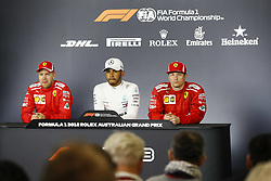 March 24, 2018 - Melbourne, Victoria, Australia - Press conference. VETTEL Sebastian (ger), Scuderia Ferrari SF71H, HAMILTON Lewis (gbr), Mercedes AMG F1 Petronas GP W09 Hybrid EQ Power+, RAIKKONEN Kimi (fin), Scuderia Ferrari SF71H, portrait during 2018 Formula 1 championship at Melbourne, Australian Grand Prix, from March 22 To 25 - s: FIA Formula One World Championship 2018, Melbourne, Victoria : Motorsports: Formula 1 2018 Rolex  Australian Grand Prix, (Credit Image: © Hoch Zwei via ZUMA Wire)