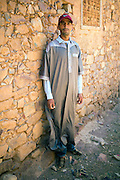 TALIOUINE, MOROCCO - MAY 25TH 2016 - Key Keeper Abdullah stands infront of the nTellah Granary, Taliouine province of Southern Morocco.