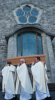Priest carry the remains at the funeral of former Bishop of Galway Dr. Eamonn Casey at Galway Cathedral.<br />  Photo: Andrew Downes,  xposure