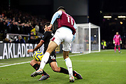 Manchester City midfielder Rodri (16) blocks the cross from Burnley midfielder Dwight McNeil (11) during the Premier League match between Burnley and Manchester City at Turf Moor, Burnley, England on 3 December 2019.