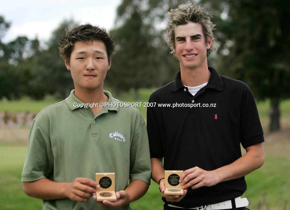Springfield Golf Club's Danny Lee (L) and Hastings Golf Club's Nick Gillespie pose for a photo with their gold and silver medals respectively after the final of the New Zealand Amateur Matchplay Championships at Hamilton Golf Club, Hamilton, New Zealand on Sunday 22 April 2007. Danny Lee won on the 31st hole 7-5. Photo: Hagen Hopkins/PHOTOSPORT<br /><br /><br /><br />220407