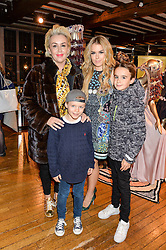 Singer TALLIA STORM with her mother TESSA HARTMANN and brothers ZACHARY HARTMANN (in cap) and JOHNNIE HARTMANN at an exclusive out of hours shopping evening 'Gifts for Goddesses' hosted by Mollie King in aid of mothers2mothers held at Liberty, Regent Street, London on 2nd March 2016.