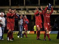 Photo: Jed Wee.<br />Oldham Athletic v Chasetown. The FA Cup. 16/11/2005.<br /><br />Chasetown players applaud the fans.