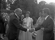 06/09/1978<br /> 09/06/1978<br /> 06 September 1978<br /> Reception for Mr. Sean Donlon, New Irish Ambassador to the United States, at the U.S. Embassy Residence, Phoenix Park, Dublin.  Picture shows Taoiseach Jack Lych shaking hands with Sean Donlon.