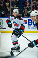 KELOWNA, BC - DECEMBER 30: Elias Carmichael #14 of the Kelowna Rockets skates against the Prince George Cougars  at Prospera Place on December 30, 2019 in Kelowna, Canada. (Photo by Marissa Baecker/Shoot the Breeze)