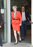 Theresa May <br /> Prime Minister <br /> departing the BBC after the Andrew Marr show, BBC Broadcasting House, London, Great Britain <br /> 30th April 2017 <br /> <br /> Theresa May MP <br /> Leader of the Conservatives <br /> <br /> Photograph by Elliott Franks <br /> Image licensed to Elliott Franks Photography Services