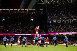Wales replacement Dominic Day wins a lineout - Mandatory byline: Rogan Thomson/JMP - 07966 386802 - 20/09/2015 - RUGBY UNION - Millennium Stadium - Cardiff, Wales - Wales v Uruguay - Rugby World Cup 2015 Pool A.