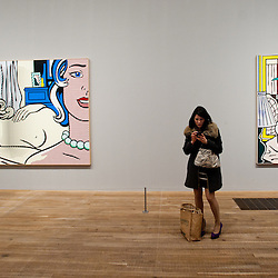 London, UK - 18 February 2013: 'Lichtenstein: A Retrospective' opens at Tate Modern in London. The exhibition is the first major Lichtenstein retrospective for twenty years, bringing together over 125 of the artist's most definitive paintings and sculptures. Built on new research and scholarship, the exhibition reassesses Lichtenstein's work and his enduring legacy.
