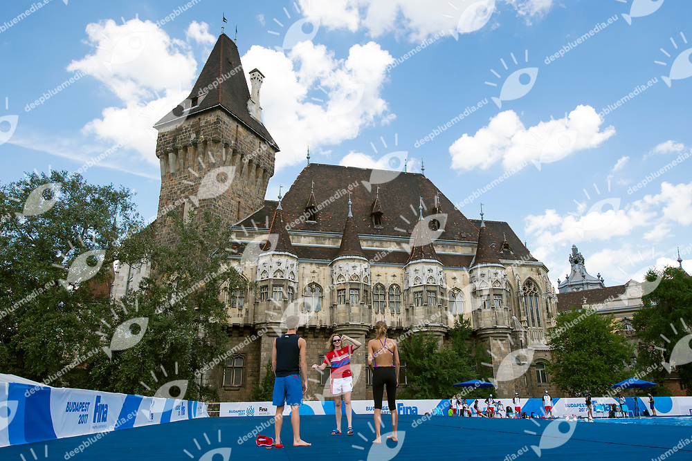 Mikhaela Kalancha, Aleksandr Maltsev and their coach during a training session <br /> Synchronised swimming , Synchro<br /> 12/07/2017 <br /> XVII FINA World Championships Aquatics<br /> City Park - Varosliget Lake<br /> Budapest Hungary <br /> Photo Andrea Staccioli/Deepbluemedia/Insidefoto