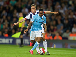 WEST BROMWICH, ENGLAND - Monday, August 10, 2015: Manchester City's Raheem Sterling in action against West Bromwich Albion's James Chester during the Premier League match at the Hawthorns. (Pic by David Rawcliffe/Propaganda)